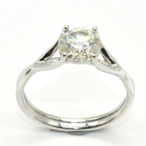 SILVER MOISSANITE (ROUND 7.5 MM)(1.75CT) RING SIZE 10