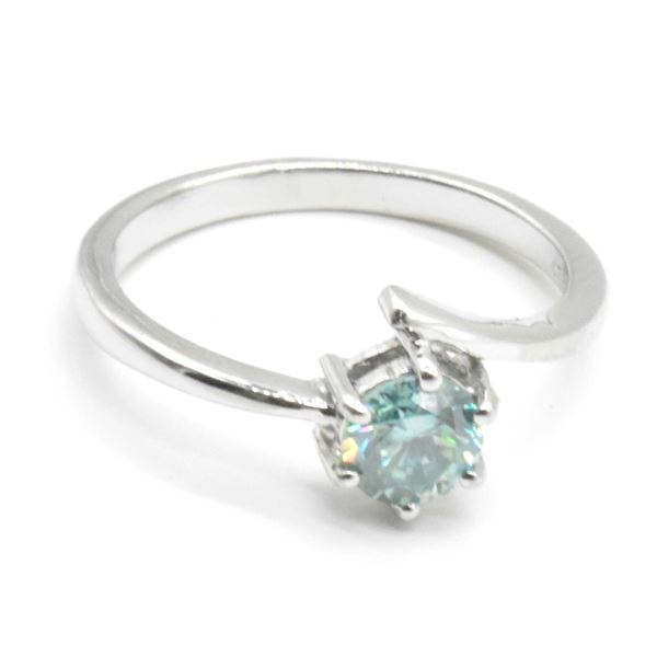 SILVER MOISSANITE (ROUND 6 MM)(0.7CT) RING SIZE 7