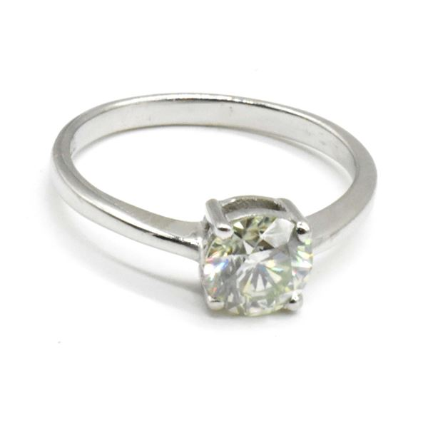 SILVER MOISSANITE (ROUND 6.5 MM)(1.08CT) RING SIZE 7