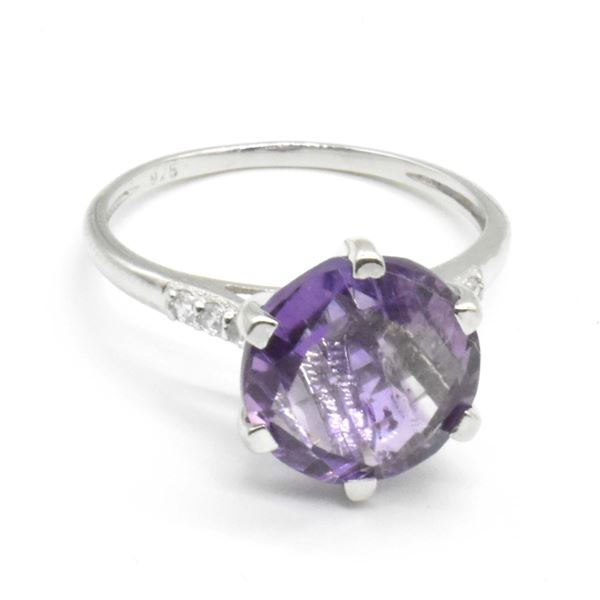 SILVER AMETHYST(3.45CT) RING SIZE 6