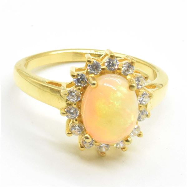 GOLD PLATED SILVER OPAL CZ(1.5CT) RING SIZE 7
