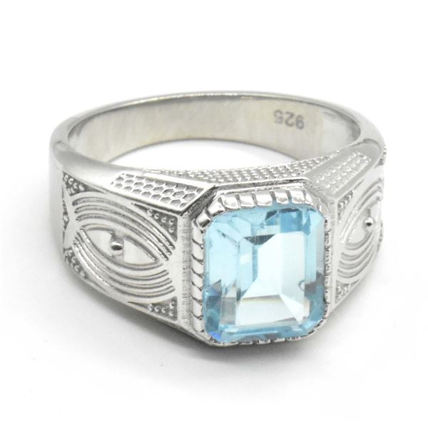 SILVER BLUE TOPAZ(3.9CT) RING SIZE 10