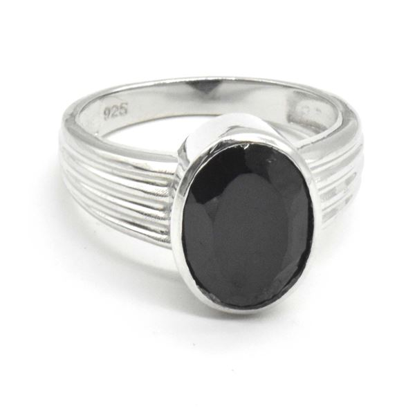 SILVER BLACK SPINEL(6.9CT) RING SIZE 10