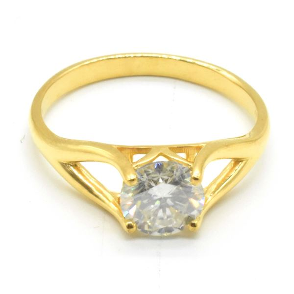 SILVER MOISSANITE(7.5X7.5 MM)(1.75CT) RING SIZE 10