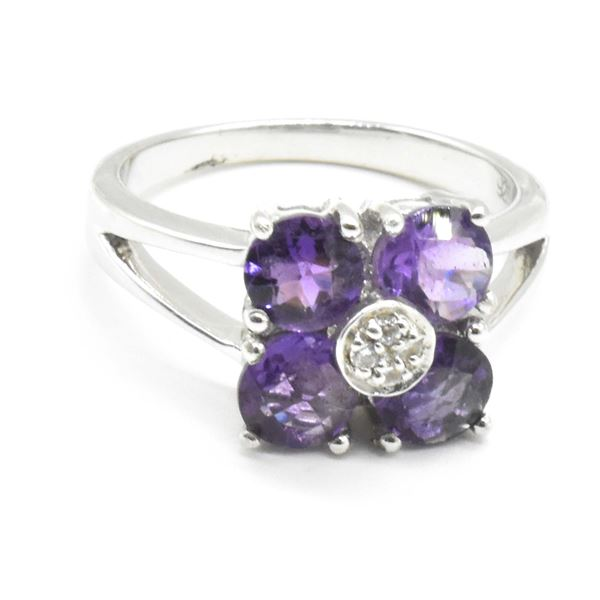 SILVER AMETHYST CZ(2.75CT) RING SIZE 8
