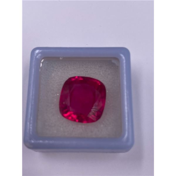EXCEPTIONAL RED RUBY LAB CREATED 14.90CT, 13.60 X 12.80 X 7.50MM, CUSHION CUT, IF LOUPE CLEAN