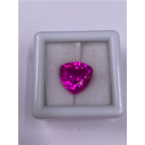 EXCEPTIONAL PINK SAPPHIRE LAB CREATED 6.70CT, 11.40 X 11.30 X 6.20MM, TRILLION CUT, EYE CLEAN