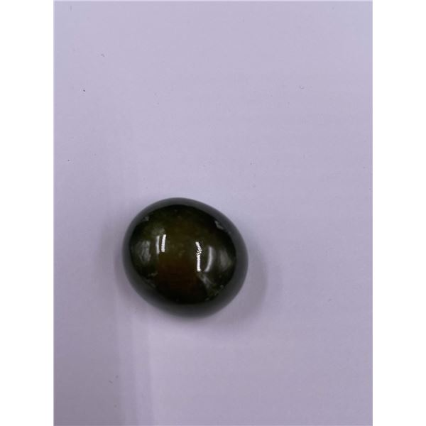 HUGE GREEN SAPPHIRE 37.45CT, 17.1 X 15.4 X 11.6MM, OVAL CABOCHON, TRANSLUCENT, MADAGASCAR, POSSIBLE