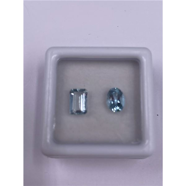 AQUAMARINE 1.46CT, VARIOUS SIZES, EMERALD AND OVAL CUT, LOUPE CLEAN CLARITY, BRAZIL, UNTREATED