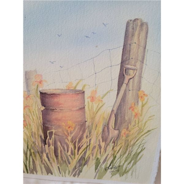 original watercolour 2 sided signed 95