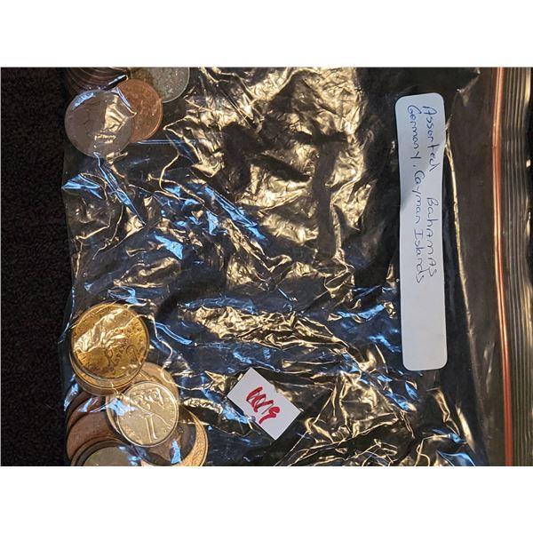 assorted Bahamas Caman Islands coins