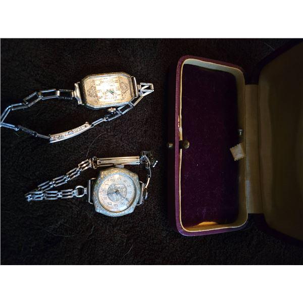 Pair vintage silver watched with case (repair)
