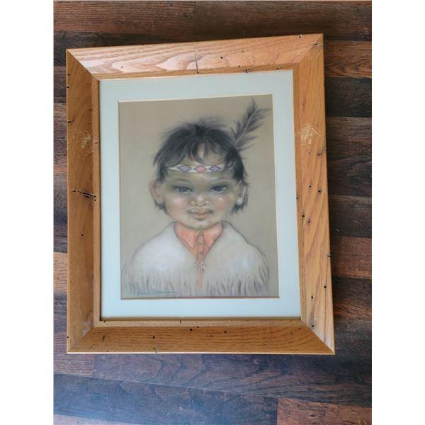 Ellen D Manning Pastel drawing original First Nations child