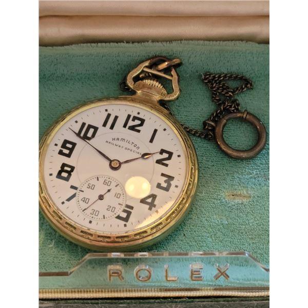 vintage Hamilton Railroad pocket watch runs
