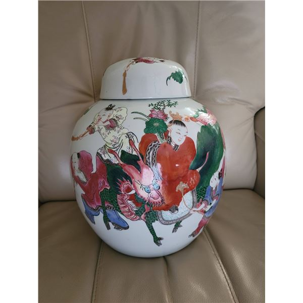 vintage large oriental jar 9 immortals