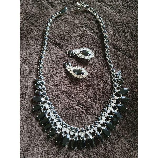 vintage necklace earring set hematite