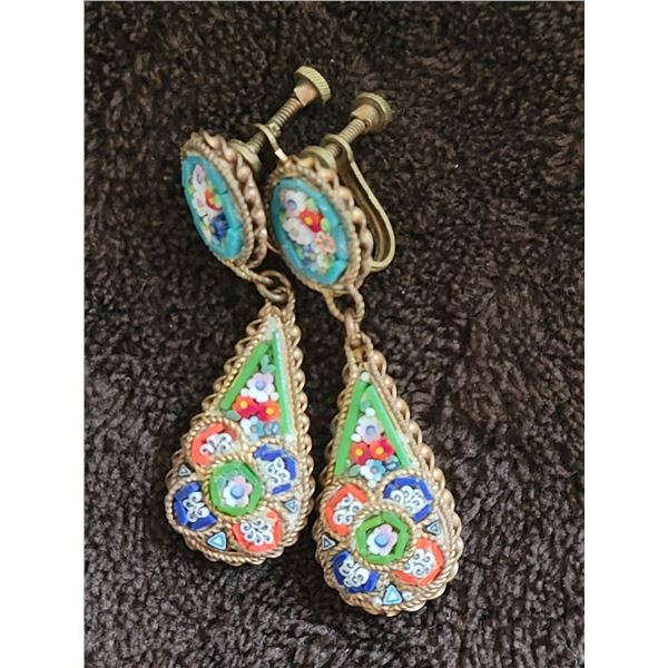 micro mosaic earring set vintage clip Italy