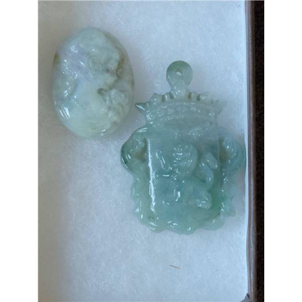 carved jadeite 2 pc