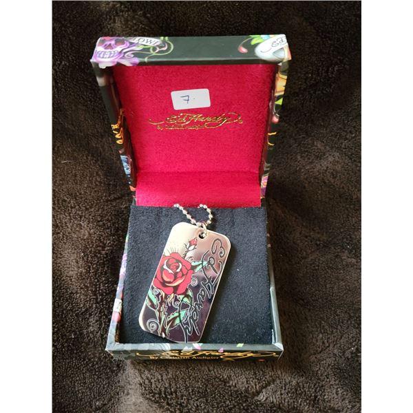 Ed Hardy dog tag necklace w box