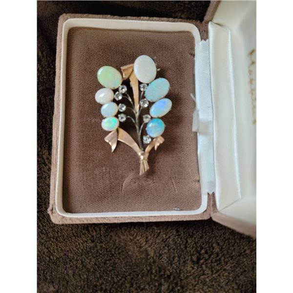 multi opal brooch one stone loose