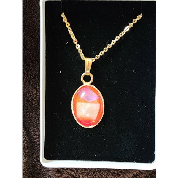 Australian Opal necklace goldtone