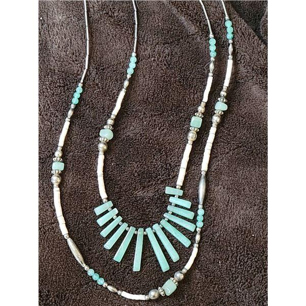 jade beaded necklace tribal