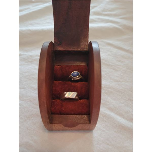 wooden box two sterling rings lapis lazuli
