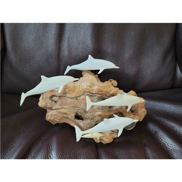 dolphin carving yew wood