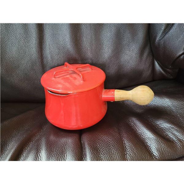 red dansk sauce pan