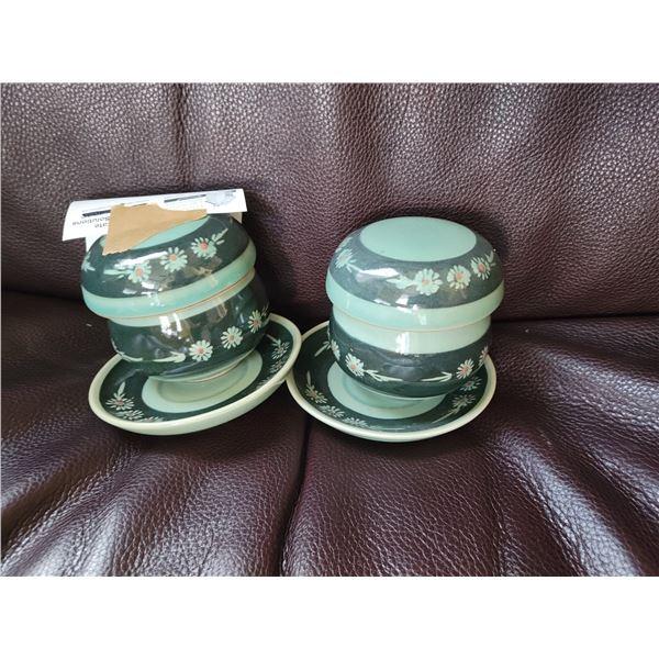 two individual tea sets