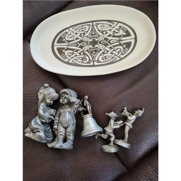 pewter figurines celtic dish lot