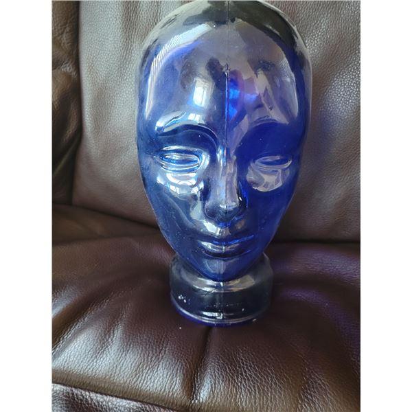cobalt blue glass head