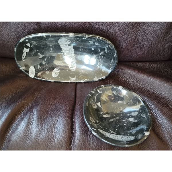 lot fossil stone dishes