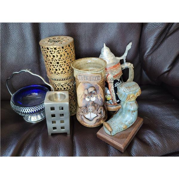 lot collectibles pop metal pottery blue glass etc