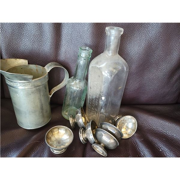 lot antique bottles, small silver cups, measure