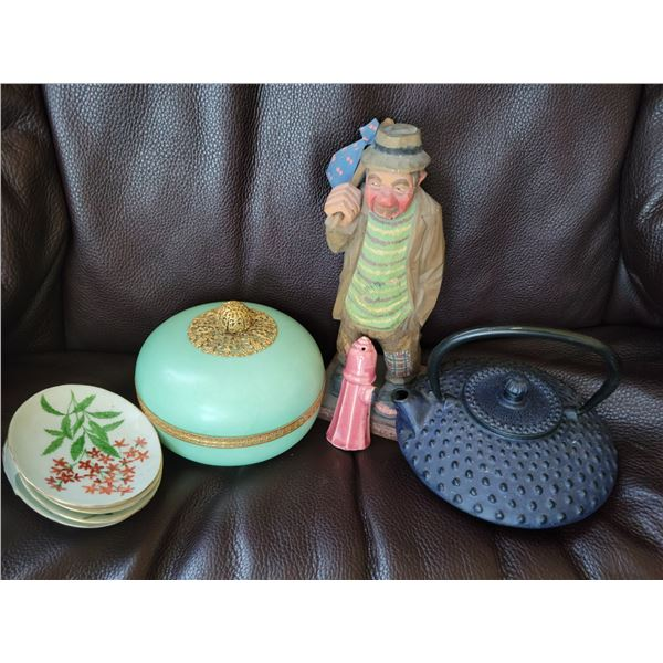 lot carved bum, lenox lidded dish, teapot