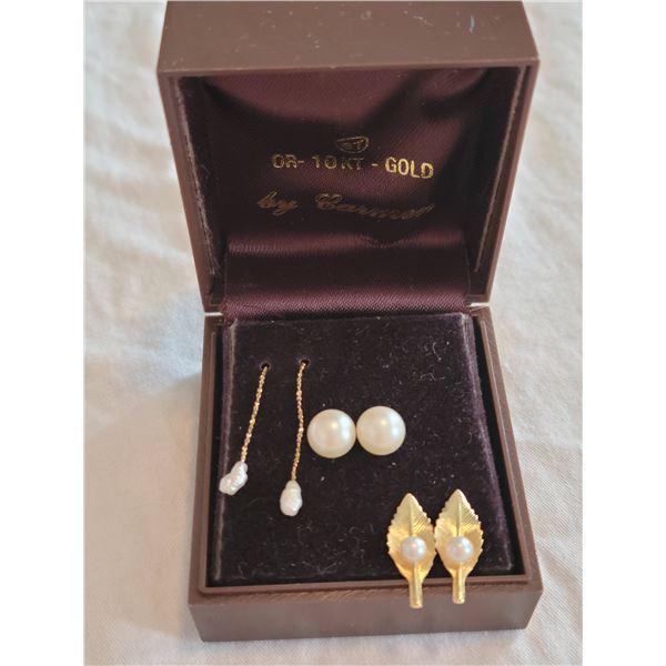 gold pearl earring lot