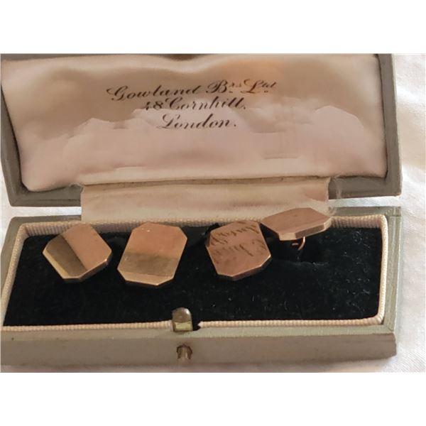 gold cufflinks in box vintage