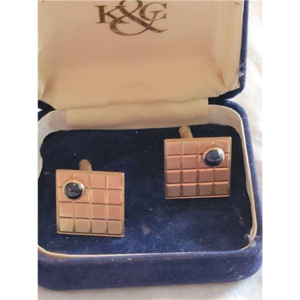 cufflinks 14k gold blue sapphire in box