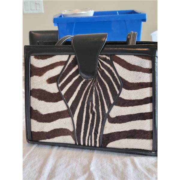 zebra leather purse
