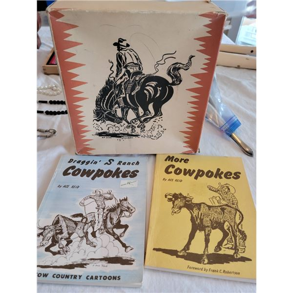 childs vintage boot box and cowpoke books 1960