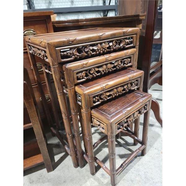 carved fruit nesting tables