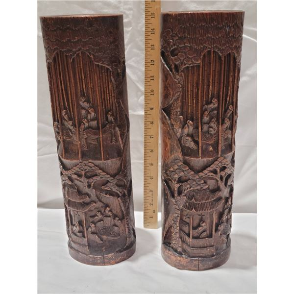 carved bamboo one cracked