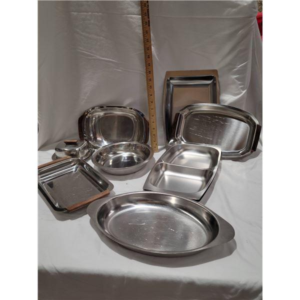 stainless serving ware teak