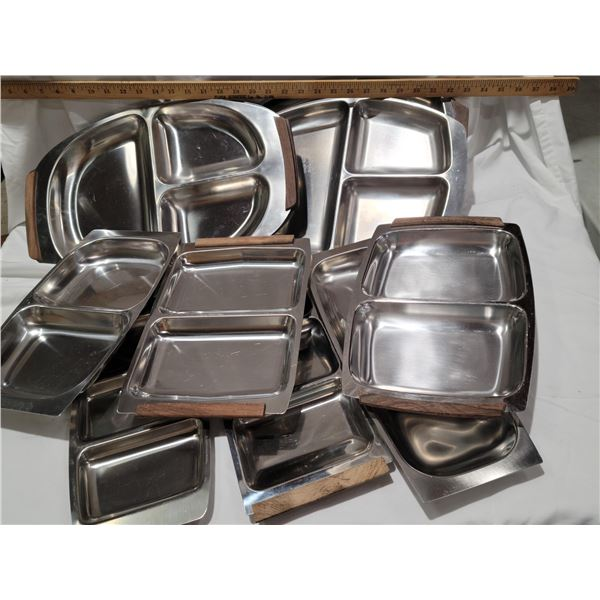 stainless divided dishes teak