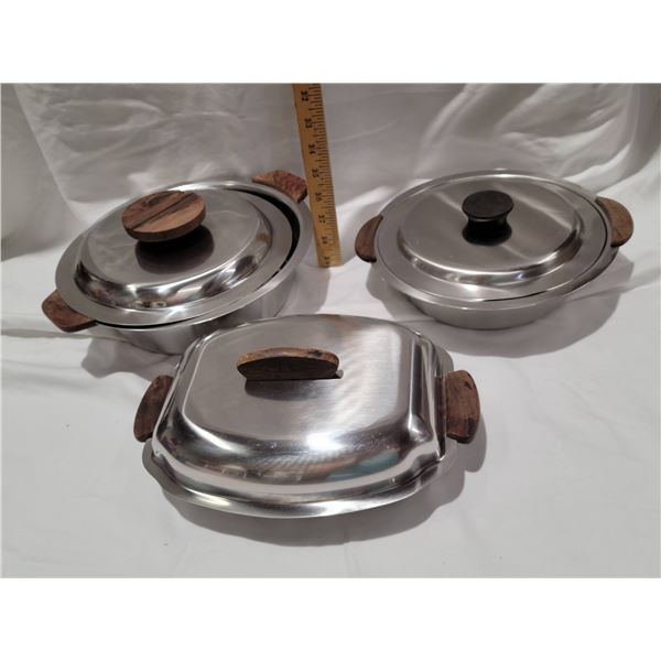 stainless serving dishes teak