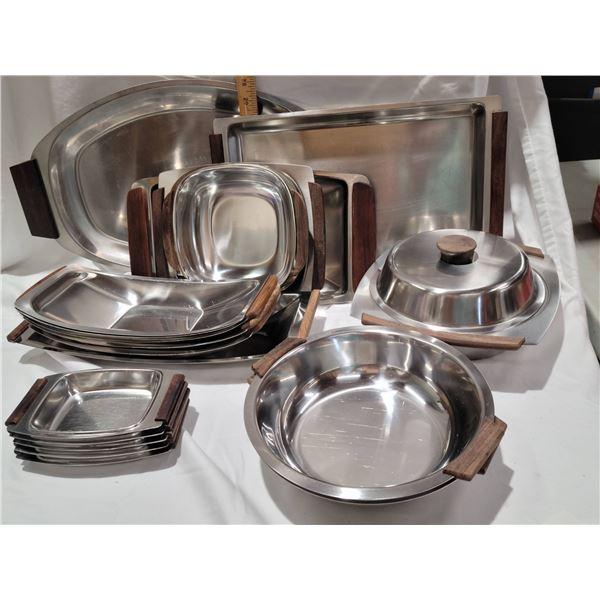 stainless steel teak serving ware
