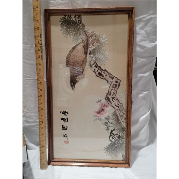 orientatal embroidery  framed