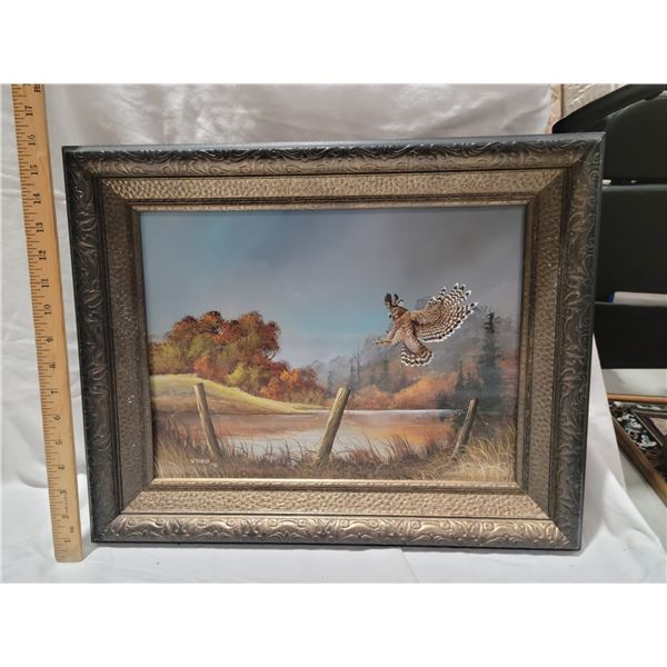 owl painting signed