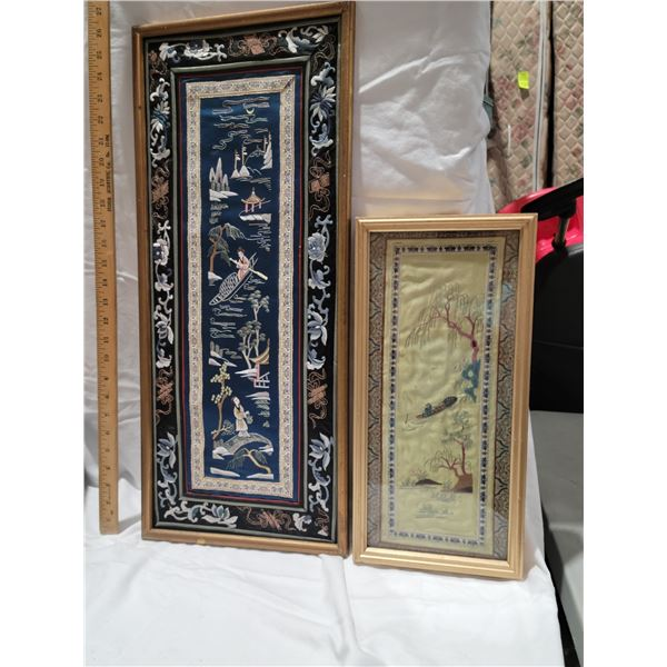 oriental embroidery framed 2 pc
